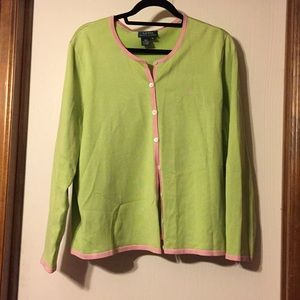 Ralph Lauren green and pink silk blend sweater, 3X